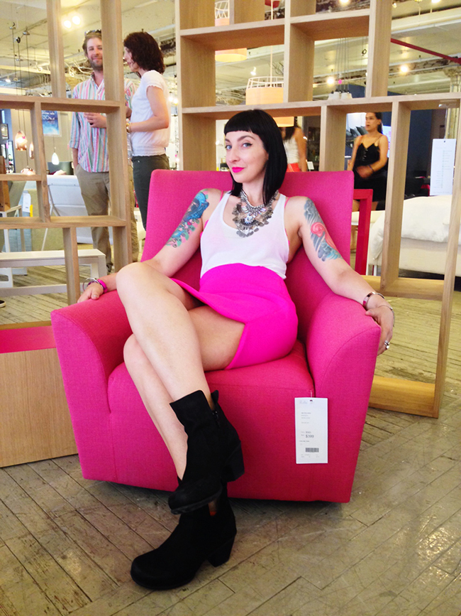 A lipstick pink chair